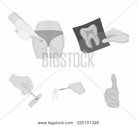 Tooth, X-ray, instrument, dentist and other  icon in monochrome style. surgeon, abscess, scalpel icons in set collection.