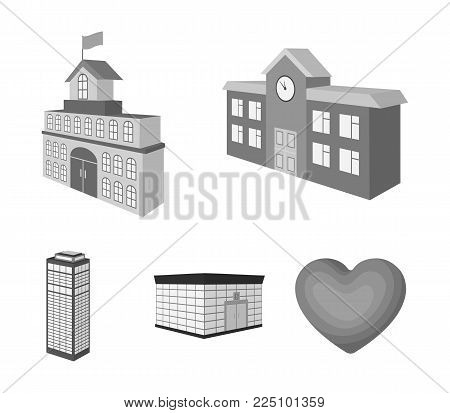 Bank office, skyscraper, city hall building, college building. Architectural and structure set collection icons in monochrome style vector symbol stock illustration .