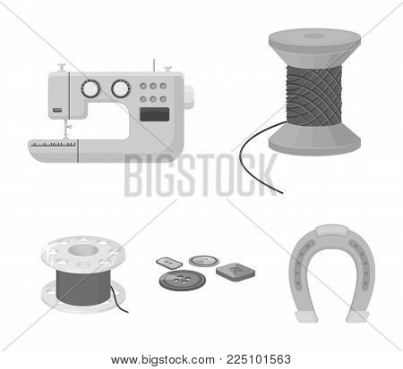 Thread reel, sewing machine, bobbin, pugwitz and other equipment. Sewing and equipment set collection icons in monochrome style vector symbol stock illustration .
