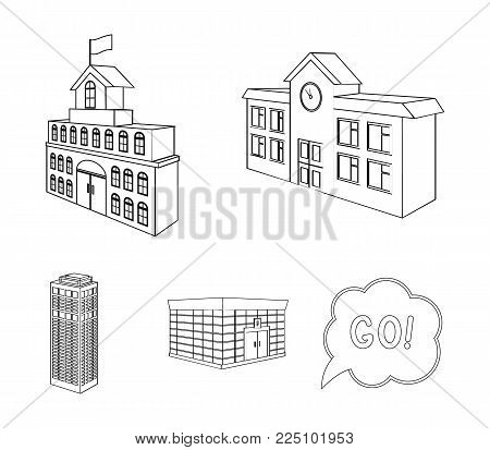 Bank office, skyscraper, city hall building, college building. Architectural structure set collection icons in outline style vector symbol stock illustration .