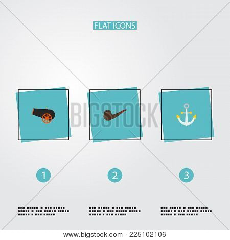Set of piracy icons flat style symbols with smoking pipe, anchor, cannon and other icons for your web mobile app logo design.
