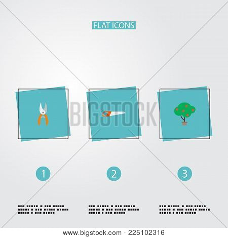 Set of gardening icons flat style symbols with scissors, hand saw, fruit tree icons for your web mobile app logo design.