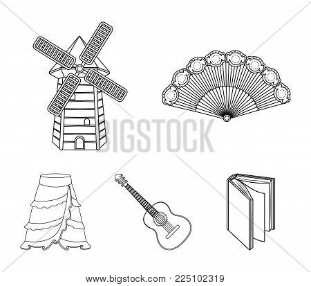Fan Spanish, mill, guitar, skirt for national Spanish dances. Spain country set collection icons in outline style vector symbol stock illustration web.
