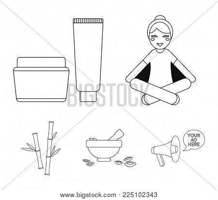 A girl in a yoga lotus pose, a jar of cream and a tube of ointment, a crush with a bowl and rose petals, bamboo with green leaves. Spa set collection icons in outline style vector symbol stock illustration .