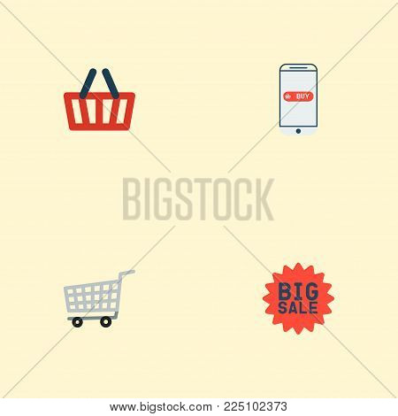 Set of shopping icons flat style symbols with advertising, mobile, shopping cart and other icons for your web mobile app logo design.