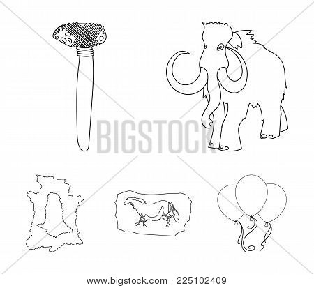 Primitive, mammoth, weapons, hammer .Stone age set collection icons in outline style vector symbol stock illustration .