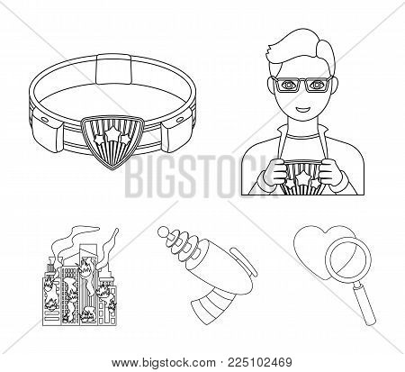 Man, young, glasses, and other  icon in outline style  belt, gun icons in set collection.