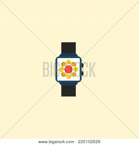 Smart watch icon flat element. Vector illustration of smart watch icon flat isolated on clean background for your web mobile app logo design.