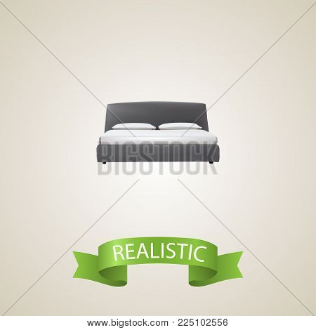 Double bed realistic element. Vector illustration of double bed realistic isolated on clean background for your web mobile app logo design.