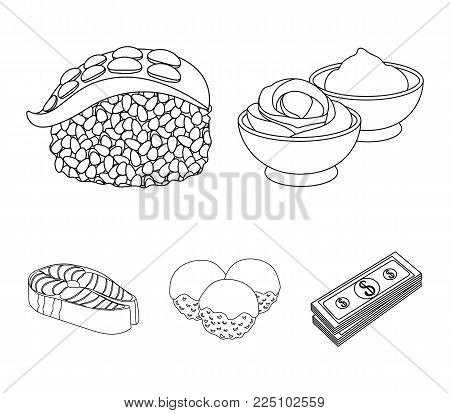 Wasabi sauce and ginger, salmon steak, octopus. Sushi set collection icons in monochrome style vector symbol stock illustration .