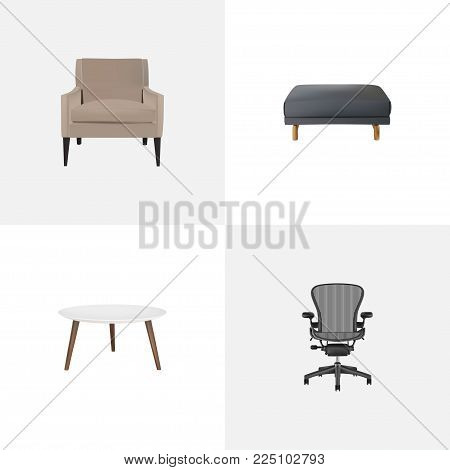 Set of furniture realistic symbols with armchair, office chair, pouf and other icons for your web mobile app logo design.