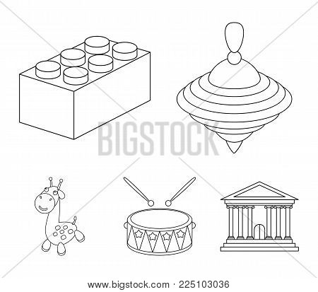 Yula, drum, giraffe.Toys set collection icons in outline style vector symbol stock illustration .