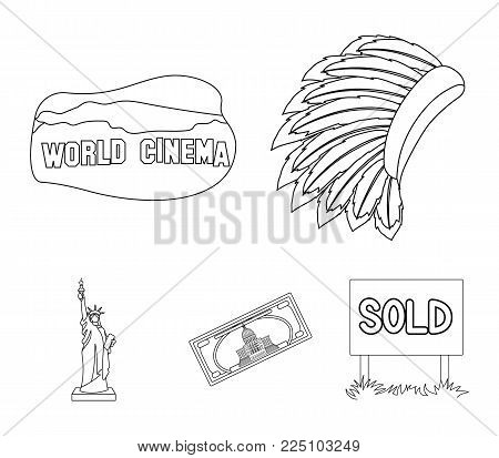 Mohavk, world cinema, dollar, a statue of liberty.USA country set collection icons in outline style vector symbol stock illustration .