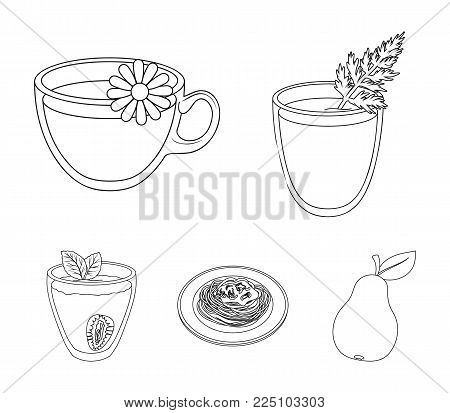 Carrot juice in a glass, chamomile tea in a cup, porridge on a plate, strawberry juice in a glass with a leaf. Vegetarian dishes set collection icons in outline style vector symbol stock illustration web.
