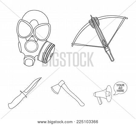 Crossbow, gas mask, ax, combat knife. Weapons set collection icons in outline style vector symbol stock illustration .