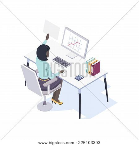 Afro-American Female Office Worker Seating at the Desk Using Mouse and Computer. View from the Back. Vector Illustration in Isometric Style.