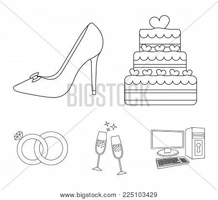 Wedding cake, bride's shoes, champagne glasses, wedding rings. Wedding set collection icons in outline style vector symbol stock illustration .