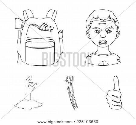 Zombies, man, mouth, and other  icon in outline style.Clothes, holes, rotten, icons in set collection.