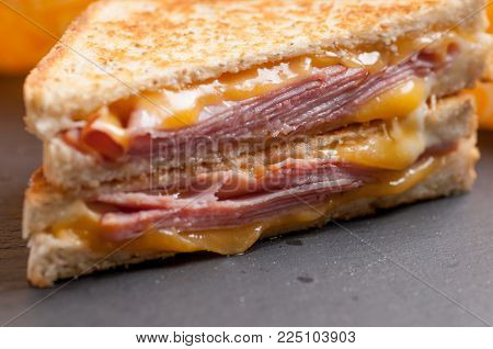 grilled ham and cheese sandwich with cheddar and havarti cheese