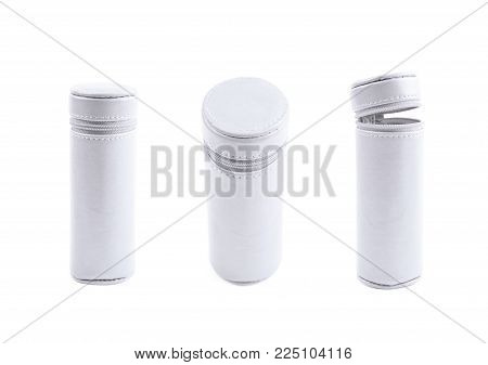 Cylindrical pencil case with the zipper lock isolated over the white background, set of three different foreshortenings