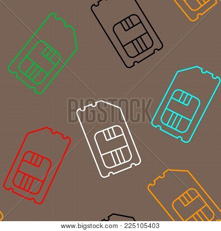 Vector SIM Cards Seamless Pattern on brown Background.