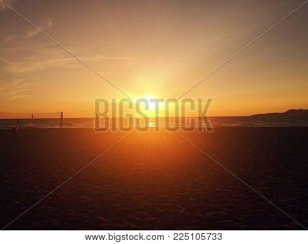 Beach Volleyball, Sunset, And Sea. Amazing Ada Bojana, Montenegro. Place To Sport, Relax, Enjoy