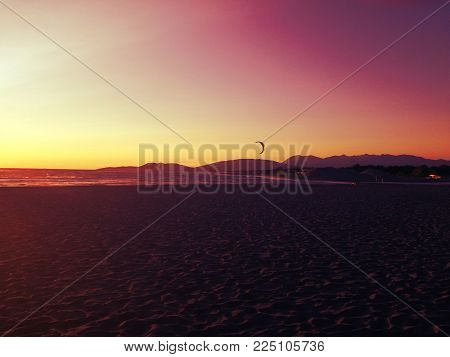 Beautiful sandy beach, Ada Bojana, Montenegro. Place to enjou and relax. Amazing sunset.