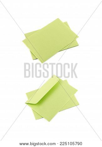 Pile of paper envelopes isolated over the white background, set of two different foreshortenings