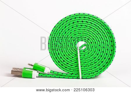 Coiled USB Cable on bright background. Shot in Studio