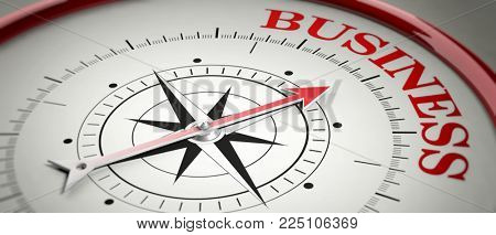 Business concept. Compass red arrow pointing at red letters word Business. 3d illustration
