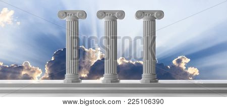 Three marble pillars of sustainability on blue cloudy sky background, details, front view. 3d illustration