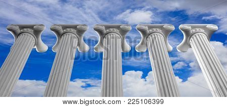 Five marble pillars of islam or justice on blue cloudy sky background, details, under view. 3d illustration