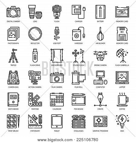 Photographer and designer gadget, pixel perfect outline icon, isolated on white background