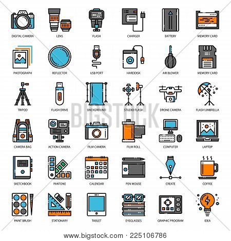 Photographer and designer gadget, pixel perfect filled outline icon, isolated on white background