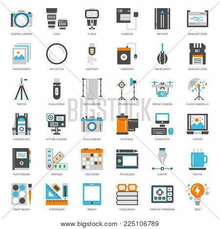 Photographer and designer gadget, pixel perfect flat icon, isolated on white background