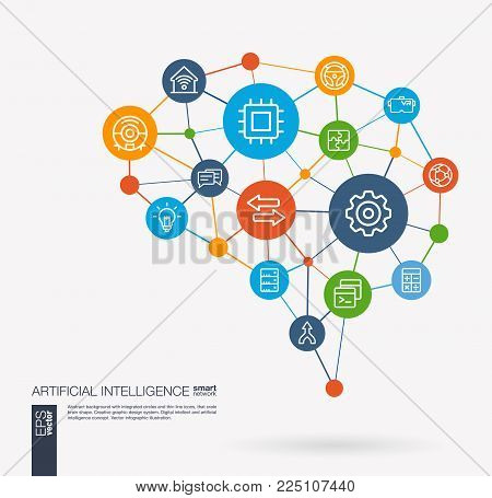 AI creative think system concept. Digital mesh smart brain idea. Futuristic interact neural network grid connect. Artificial intelligence, robot machine learning integrated business vector line icons.
