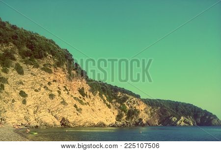 Perfect blue sea beach and mountains. Amazing Montenegro, Europe. Summer time