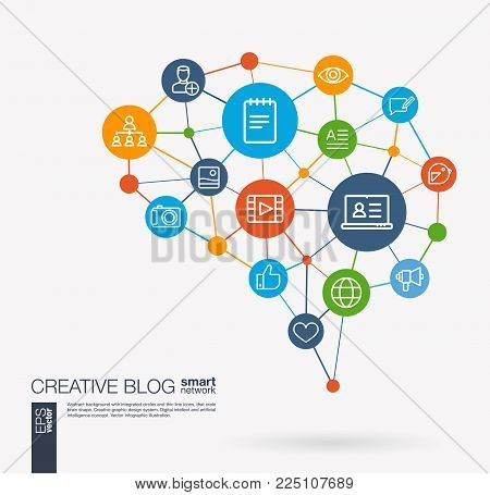 AI creative think system concept. Digital mesh smart brain idea. Futuristic interact neural network grid connect. Blog, video content publish, post writing, follower integrated business vector icons.