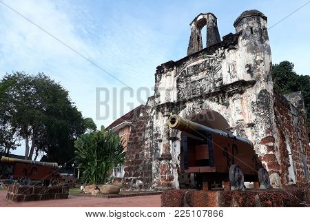 Malacca, Malaysia - January 20, 2018:   Porta de Santiago, the remains of the Portuguese A Famosa fortress in Malacca built in 1511