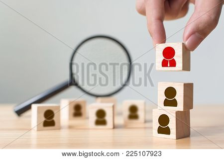 Human resource and talent management and recruitment business building team, Personal development of employee in organization. Hand putting wood cube block on top, Copy space
