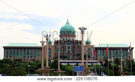PUTRAJAYA, MALAYSIA - DECEMBER 30, 2017 : Perdana Putra building which houses the office complex of the Prime Minister of Malaysia.