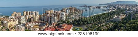 Panorama City Skyline And Harbour, Sea Port, Bullring Of Malaga Overlooking The Sea Ocean In Malaga,