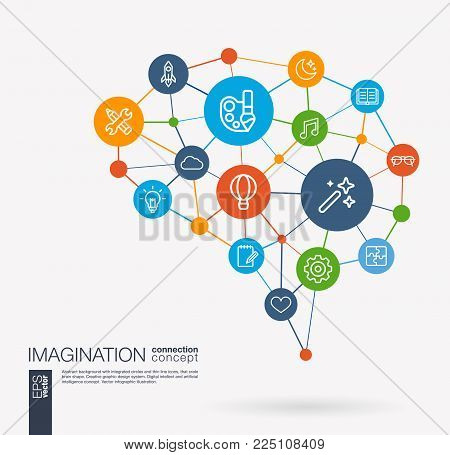 AI creative think system concept. Digital mesh smart brain idea. Futuristic interact neural network grid connect. Imagination and dream, brainstorm, art, inspiration integrated business vector icons.