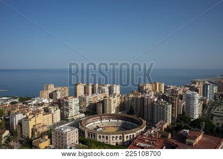 Aerial View Of Malagueta District And La Malagueta Bullring In Malaga, Spain, Europe On A Bright Sum