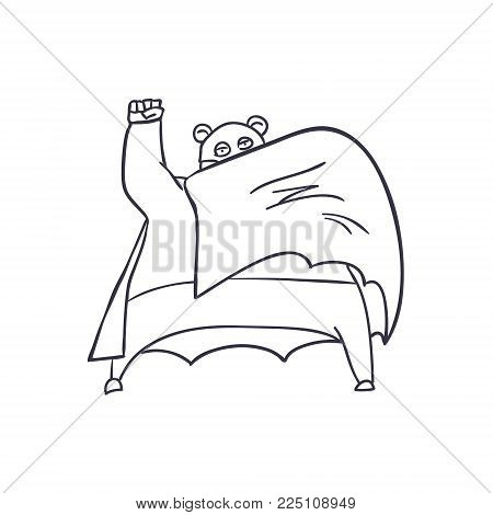 Cartoon Hand Drawn Super Hero Character with Cloak. Vector illustration