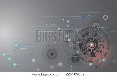 Abstract technology futuristic circuit board,Hi-tech computer digital telecom,Technological various light energy on gray sky of cyberspace,Vector illustration electronic interface the future concept.