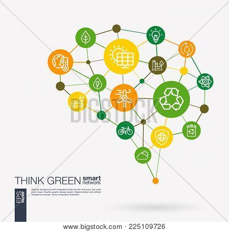 AI creative think green system concept. Digital mesh smart brain idea. Futuristic interact neural network grid connect. Environmental, ecology, recycle and eco energy integrated business vector icons.