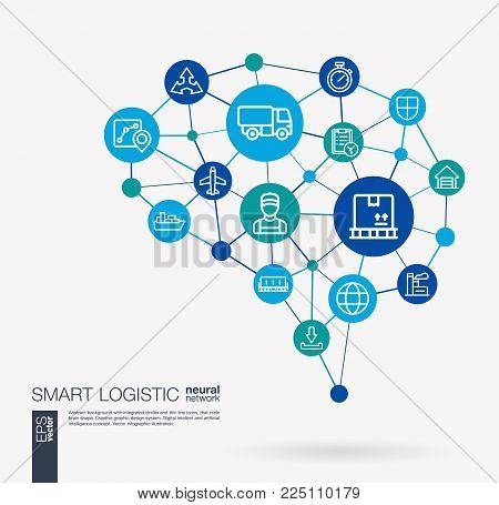 AI creative think system concept. Digital mesh smart brain idea. Interact neural network grid connect. Logistic, warehouse storage, ship, delivery, distribute and export integrate business vector icon