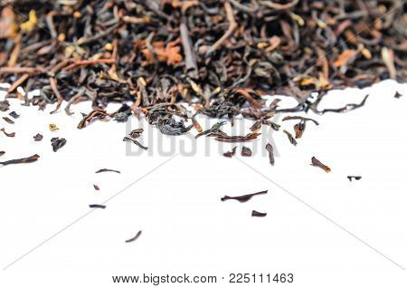 A Bunch Of Dry Black Unpressed Tea With Flavors