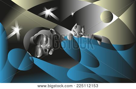 View in the dark, girlfriend sleeping in the bed with the cat. Flat vector illustration. The girl dreams.